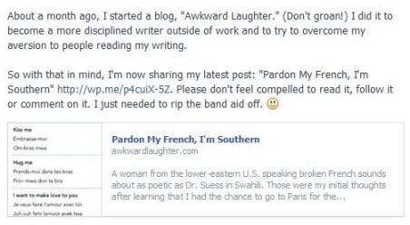 Inaugural Facebook Post
