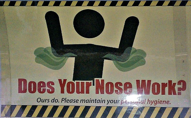 Does Your Nose Work sign from public bus